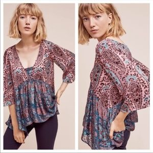 Anthro Floreat Valo Silk Burnout Flowing Blouse